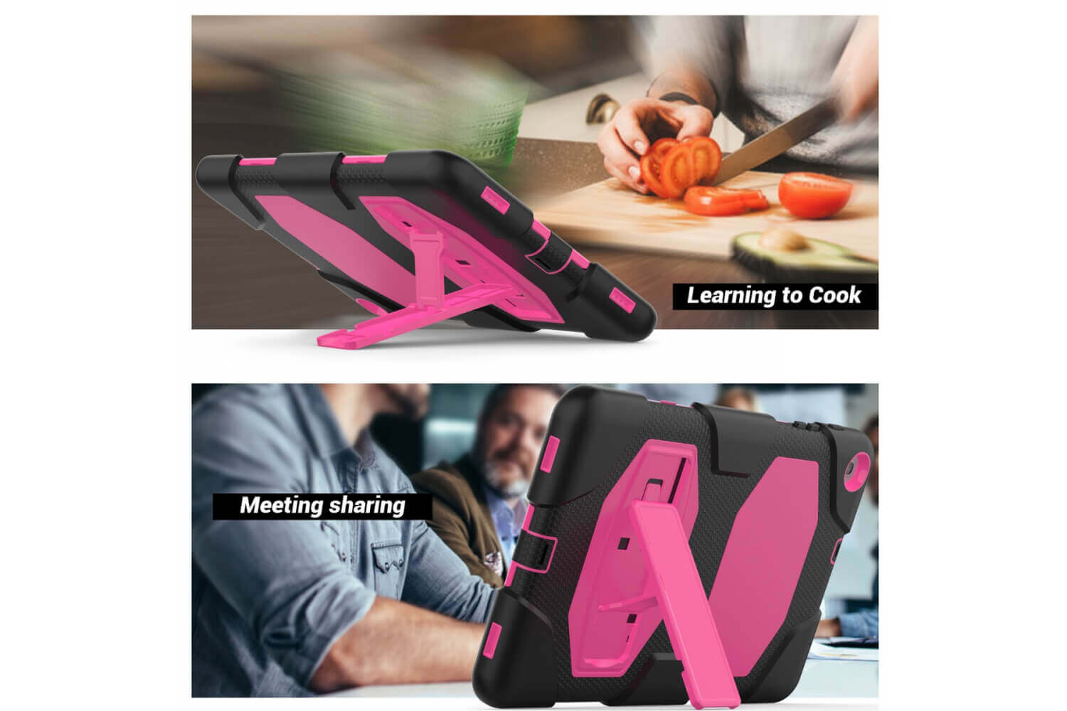 galaxy tab a 10.1 2019 rugged case with kickstand pink