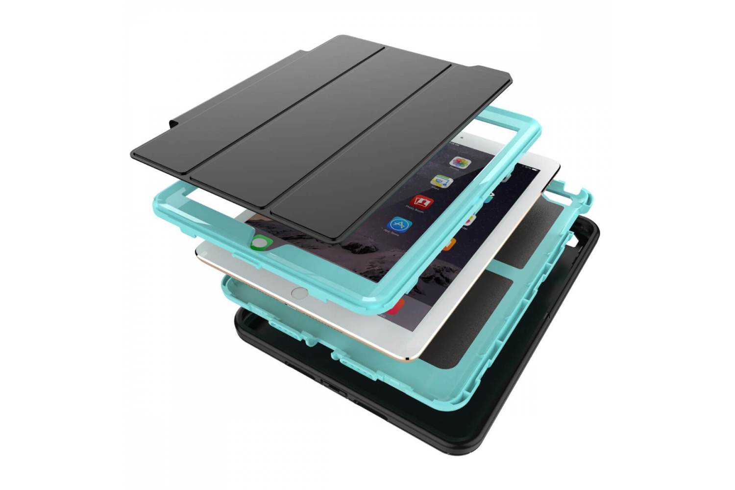 iPad 9.7 (2018) heavy duty survivor smartcase lichtblauw