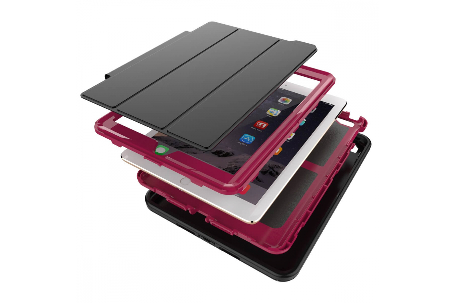 iPad 9.7 (2017) heavy duty survivor smartcase oud roze