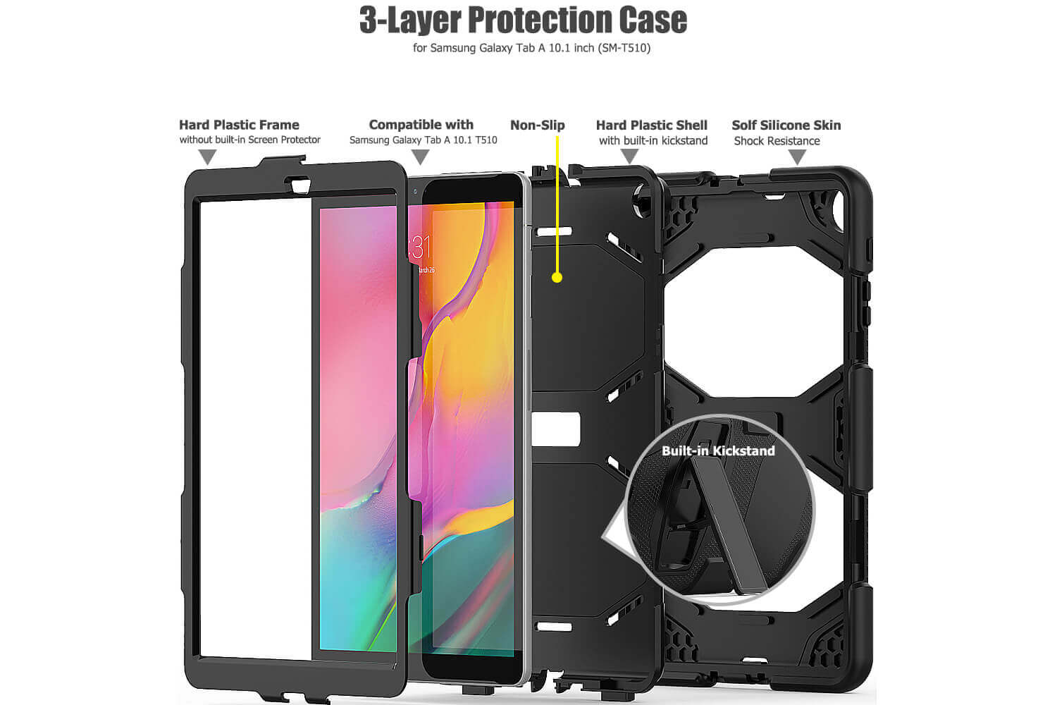 galaxy tab a 10.1 2019 rugged case with kickstand black
