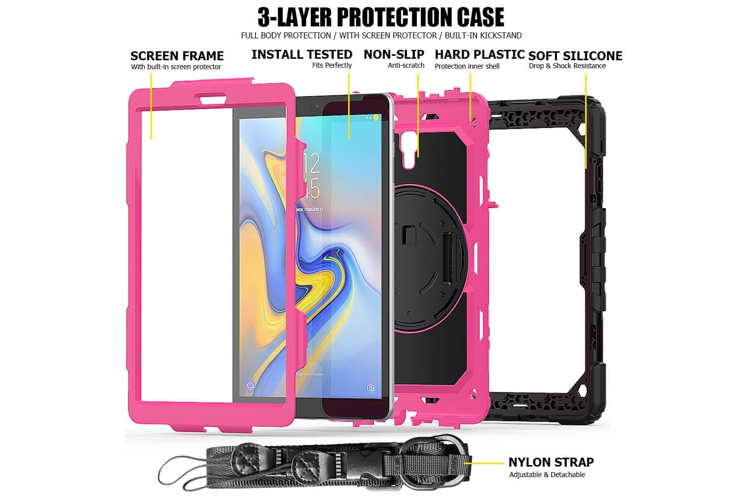 samsung tab a 10.5 rotatable bumper case pink