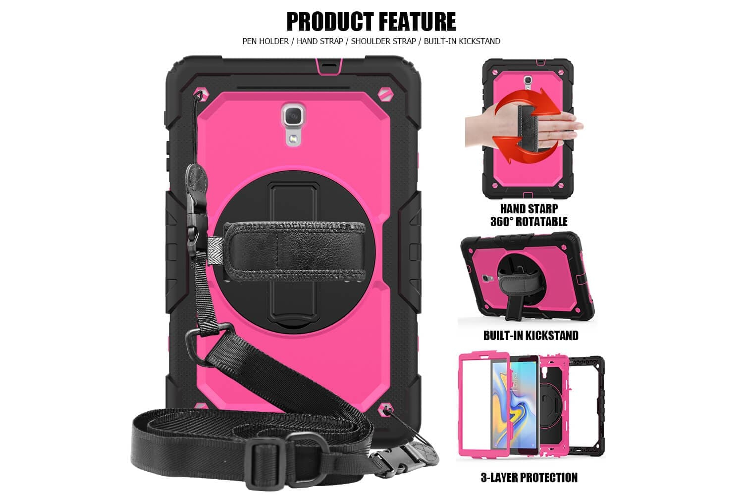 rotating bumper case for samsung galaxy tab a 10.5 pink