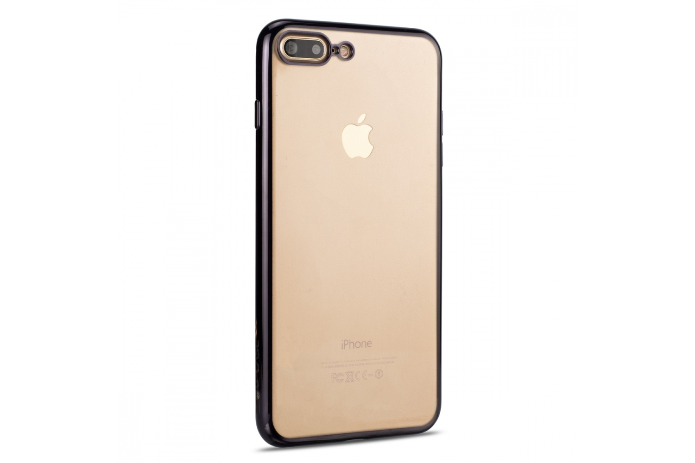 Iphone 7 Plus Back cover TPU case Transparant Zwart