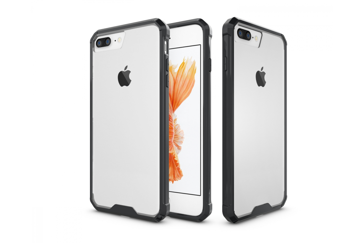 Iphone 8 Plus Back cover Transparant Air Hybrid Zwart