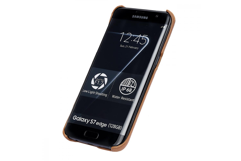 Samsung S7 Edge echt lederen backcover Beige
