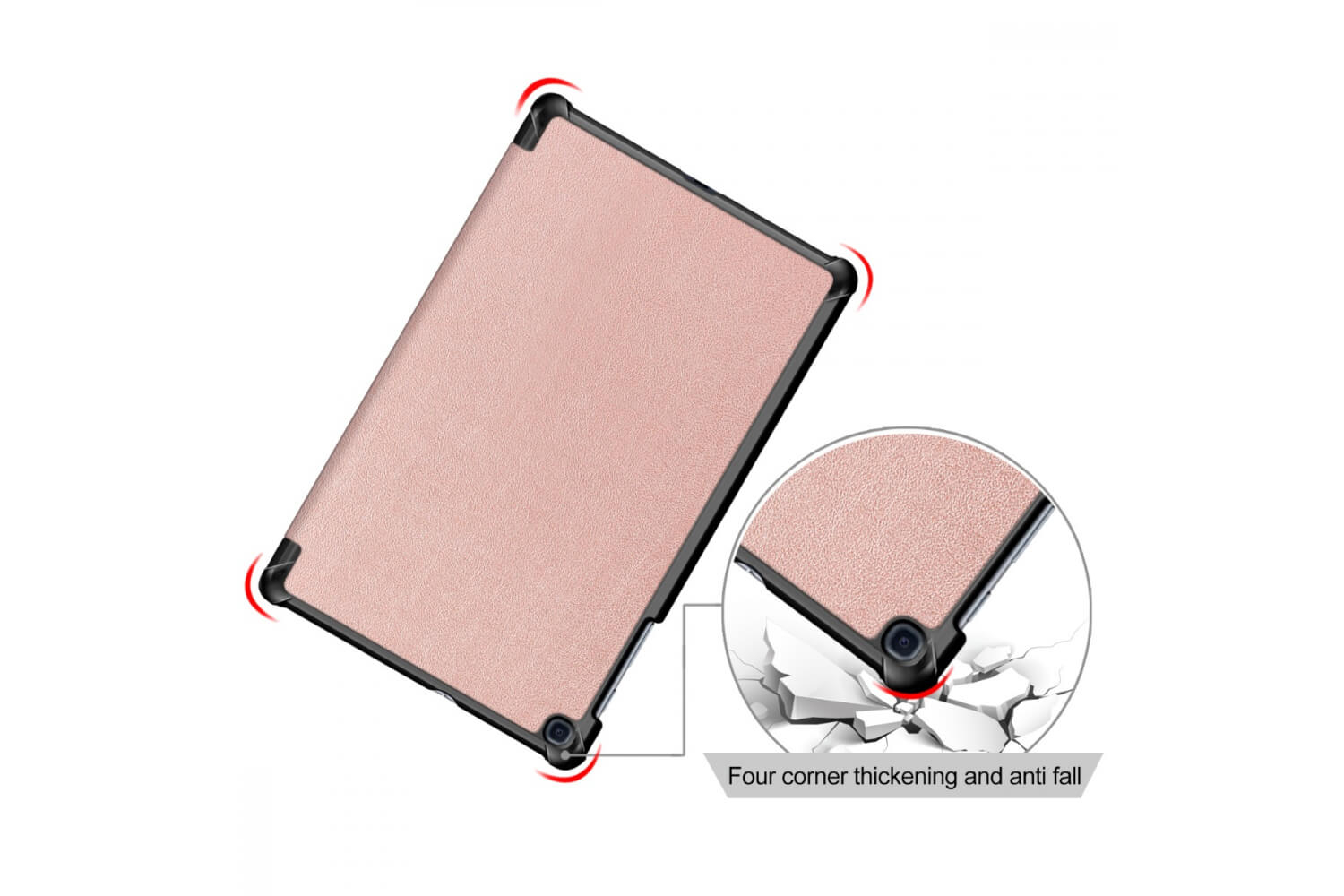 samsung galaxy tab a 10.1 book cover tri-fold rose gold