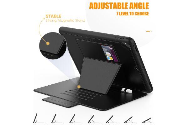iPad 2018 9.7 inch tablethoes - bescherming met 3 lagen - Magnetisch - met kaarthouder - Zwart
