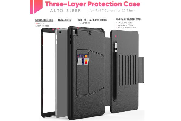 iPad 2020 10.2 inch tablethoes - bescherming met 3 lagen - Magnetisch - met kaarthouder - Zwart