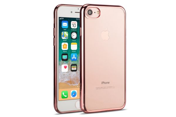 Iphone 7 Back cover TPU case Transparant Rose goud