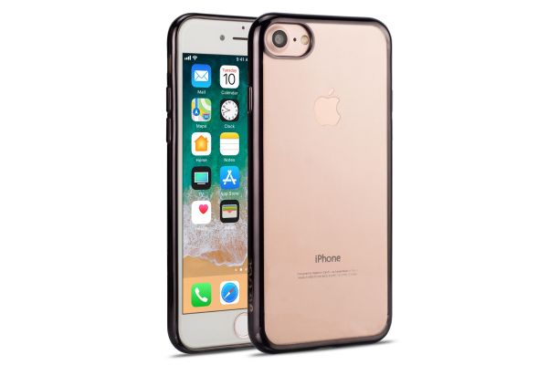 Iphone 8 Back cover TPU case Transparant Zwart