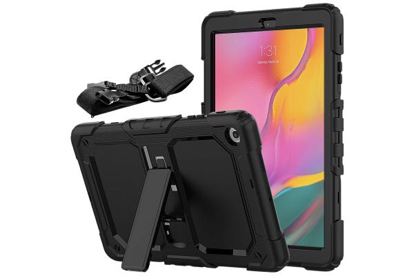 Samsung Tab A 10.1 model 2019 Bumper Case met schouderband zwart
