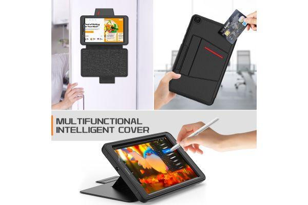 Samsung Galaxy Tab A 8.0 Inch tablethoes 2019 - bescherming met 3 lagen - Magnetisch - met kaarthouder - Zwart