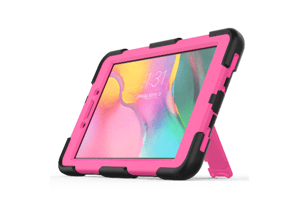 Samsung Tab A 8.0 model 2019 Bumper Case met ingebouwde kickstand roze