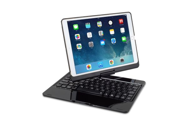 iPad Air 10.5 model 2019 Draaibare hoes Zwart met bluetooth toetsenbord en led verlichting
