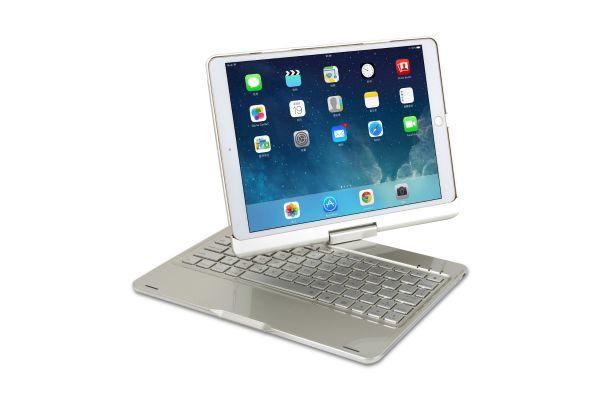 Draaibare iPad Pro 10.5 hoes zilver met bluetooth toetsenbord en led verlichting
