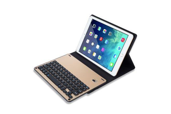 iPad 9.7 2018 hoes met toetsenbord ultra slim goud