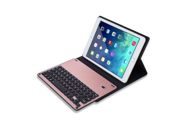 iPad 9.7 2018 hoes met toetsenbord ultra slim rose goud