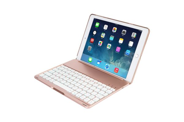 iPad 9.7 (2018) Case Bluetooth verlicht Toetsenbord Rose Goud