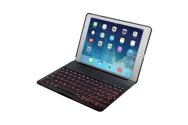 iPad 2017 9.7 inch AZERTY Case bluetooth verlicht toetsenbord Zwart