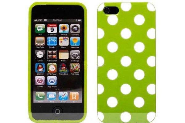 iPhone 5 | 5S Hoesje hardcase Polka Dots Groen-Wit