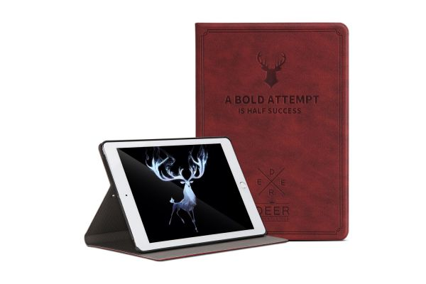 iPad 9.7 (2018) design hoes bruin/rood DEER