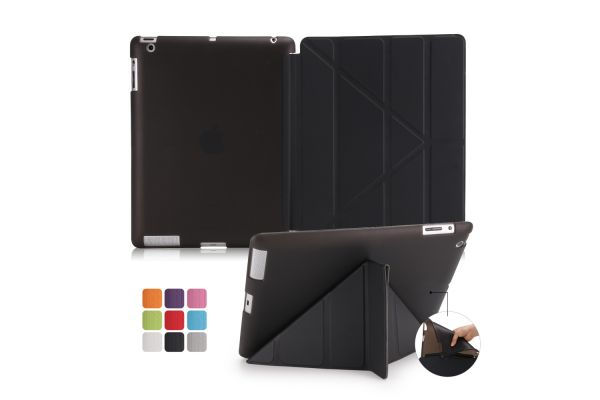 iPad 2-3-4 Book Cover Origami Zwart