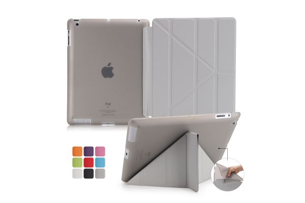iPad 2-3-4 Book Cover Origami Grijs