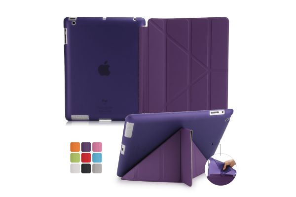 iPad 2-3-4 Book Cover Origami Paars