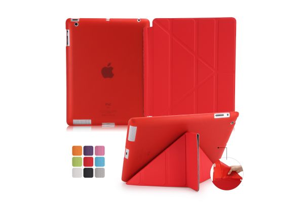 iPad 2-3-4 Book Cover Origami Rood