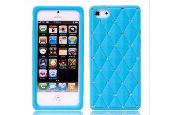 iPhone 5 | 5S Hoesje Siliconen met Swarovski steentjes L.Blauw