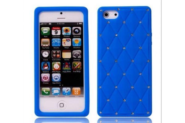 iPhone 5 | 5S Hoesje Siliconen met Swarovski steentjes Blauw