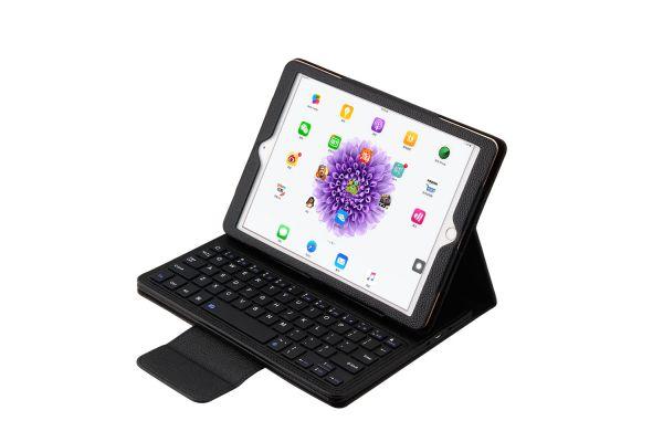 iPad 9.7 (2017) luxe hoes met uitneembaar Bluetooth Toetsenbord Zwart