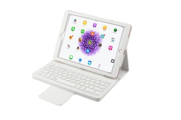 iPad 9.7 (2018) luxe hoes met uitneembaar Bluetooth Toetsenbord Wit