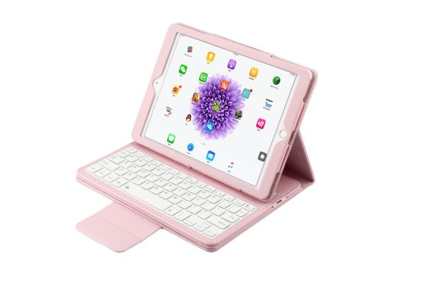 iPad 9.7 (2017) luxe hoes met uitneembaar Bluetooth Toetsenbord roze