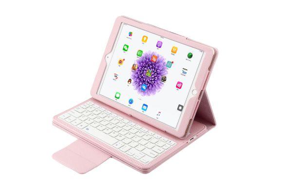 iPad Air 1-2-pro 9.7 Luxe hoes met uitneembaar Bluetooth Toetsenbord Roze leer