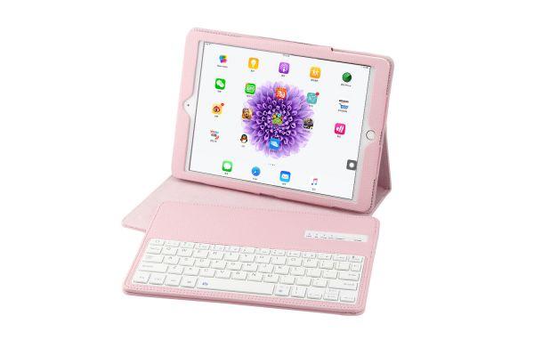 iPad 9.7 (2018) luxe hoes met uitneembaar Bluetooth Toetsenbord Roze