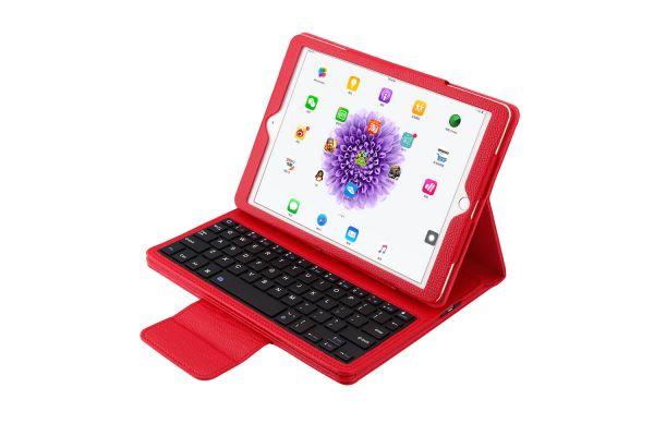 iPad Air 1 Air 2 pro 9.7 Luxe hoes met uitneembaar Bluetooth Toetsenbord Rood leer