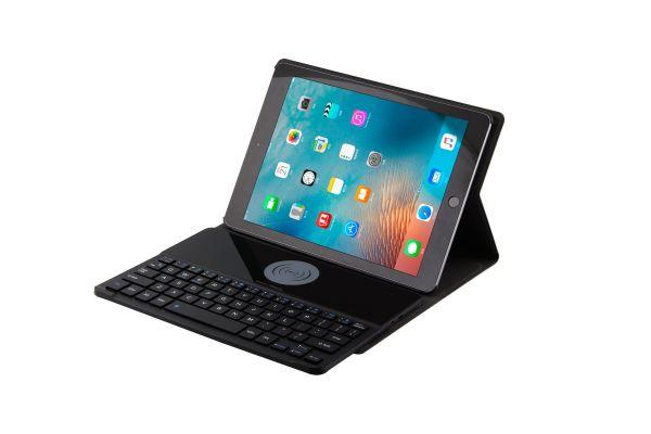 iPad 9.7 2018 hoes met Wireless Charging toetsenbord Ultra Slim Zwart