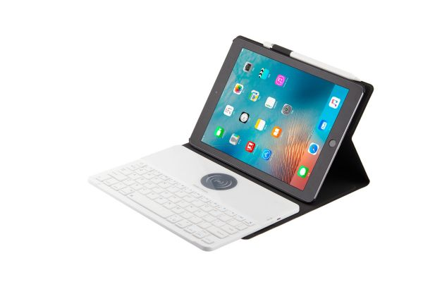 iPad 9.7 2018 hoes met Wireless Charging toetsenbord Ultra Slim Wit