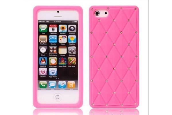 iPhone 5 | 5S Hoesje Siliconen met Swarovski steentjes Roze