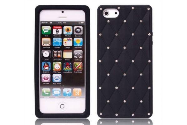 iPhone 5 | 5S Hoesje Siliconen met Swarovski steentjes Zwart