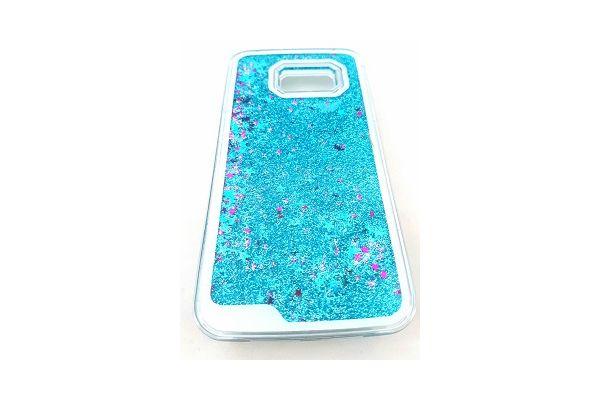 Samsung S7 edge bewegende glitter hoes blauw