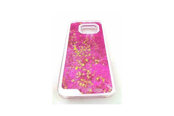 Samsung S7 edge bewegende glitter hoes paars