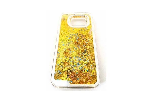 Samsung S7 edge bewegende glitter hoes goud
