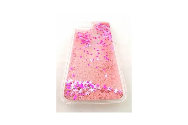 Iphone 7 plus bewegende glitter hoes roze
