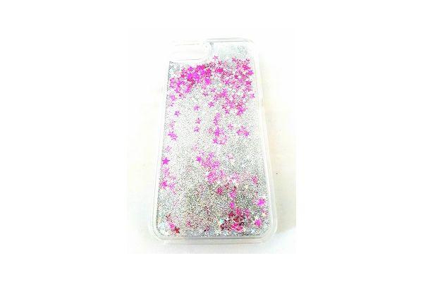 Iphone 7 bewegende glitter hoes zilver