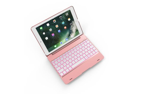 iPad 2018 9.7 inch Laptop Case Bluetooth verlicht Toetsenbord Rose Goud