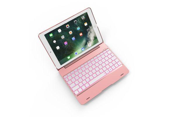 iPad 2017 9.7 inch Laptop Case Bluetooth verlicht Toetsenbord Rose Goud