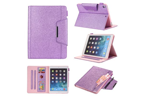 iPad 2018 9.7 inch Book Cover Deluxe Paars glitter