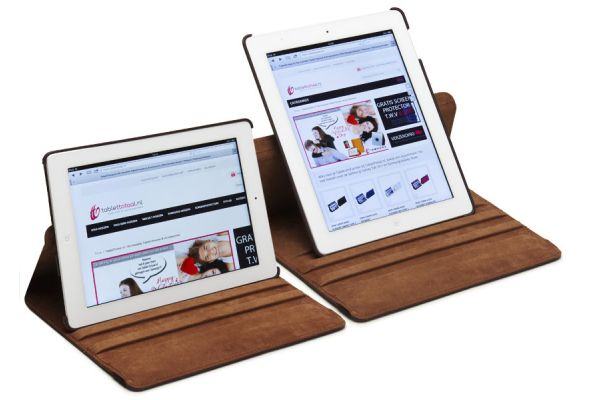 iPad Mini 1-2-3 PU Leren Draaibare Hoes Bruin